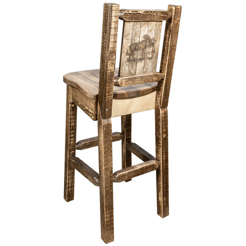 Montana Woodworks    Homestead Counter Height Barstool with Back, with Laser Engraved Moose Design, Stain and Lacquer Finish