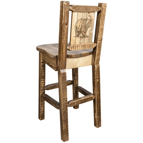 Montana Woodworks    Homestead Barstool with Back, with Laser Engraved Bear Design, Stain and Lacquer Finish