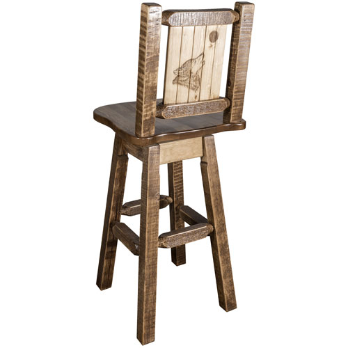 Homestead Counter Height Barstool with Back and Swivel with Laser Engraved Wolf Design, Stain and Lacquer Finish