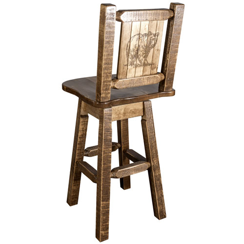 Montana Woodworks    Homestead Barstool with Back and Swivel with Laser Engraved Bear Design, Stain and Lacquer Finish