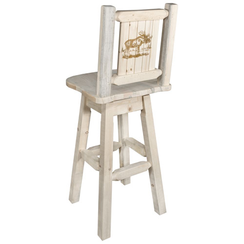 Montana Woodworks    Homestead Counter Height Barstool with Back and Swivel with Laser Engraved Moose Design, Clear Lacquer