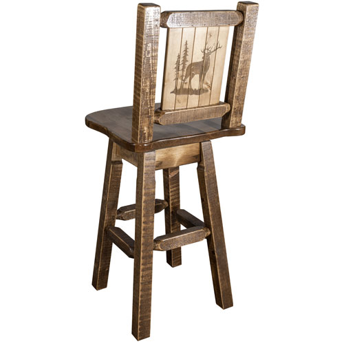 Homestead Barstool with Back and Swivel with Laser Engraved Bronc Design, Clear Lacquer Finish