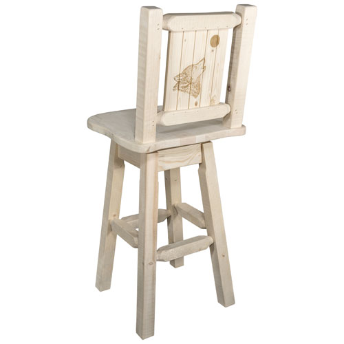 Homestead Barstool with Back and Swivel with Laser Engraved Wolf Design, Clear Lacquer Finish