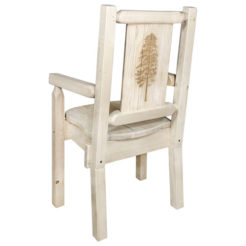 Montana Woodworks    Homestead Captains Chair with Laser Engraved Pine Tree Design, Ready to Finish