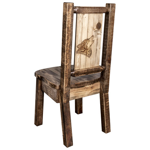 Montana Woodworks    Homestead Side Chair with Laser Engraved Wolf Design, Stain and Lacquer Finish