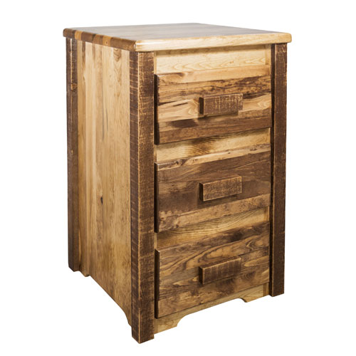 Homestead Stained and Lacquered Three Drawer Nightstand