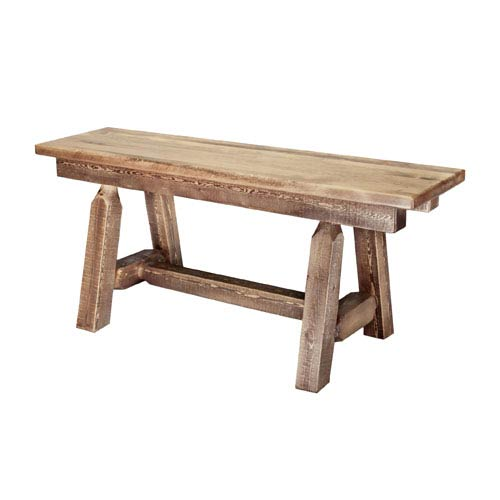 Homestead Stained and Lacquered Plank Style Bench, Six Ft.
