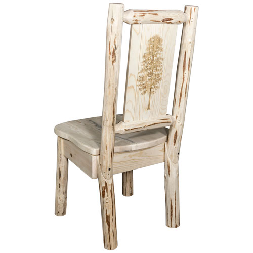 Montana Woodworks Montana Side Chair With Laser Engraved Pine Tree Design,  Ready To Finish