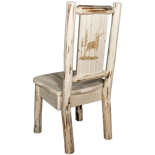 Montana Side Chair with Laser Engraved Elk Design, Clear Lacquer Finish