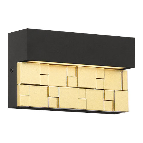 Grid Bronze And Gold Led Outdoor Wall Sconce