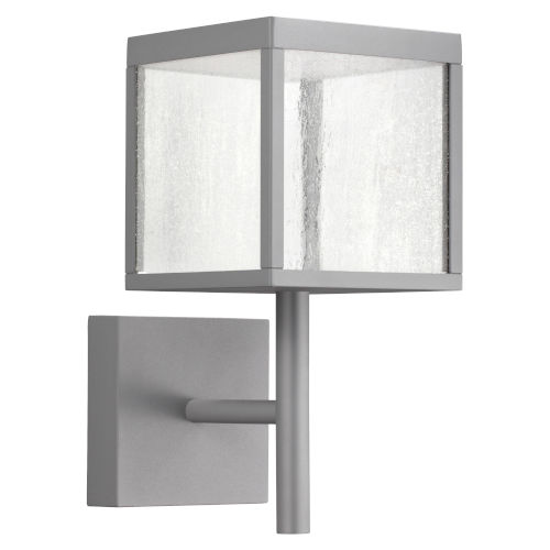 Reveal Satin Gray 7-Inch Led Outdoor Square Wall Sconce With Seeded Glass