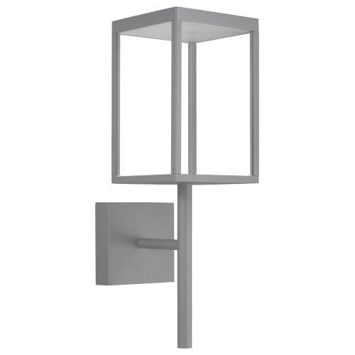 Reveal Satin Gray 7-Inch Led Outdoor Rectangular Wall Sconce With Clear Glass
