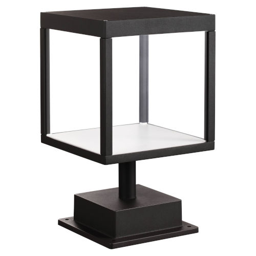 Reveal Black 7-Inch Led Outdoor Square Pier Mount With Clear Glass