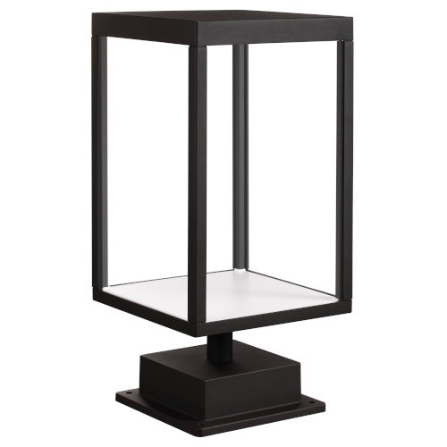 Reveal Black 7-Inch Led Outdoor Rectangular Pier Mount With Clear Glass