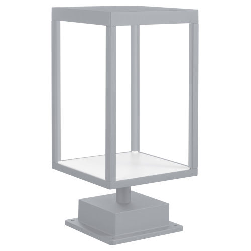 Reveal Satin Gray 7-Inch Led Outdoor Rectangular Pier Mount With Clear Glass