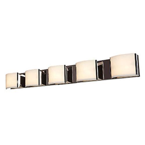 Nitro 2 Brushed Steel Five-Light LED ADA Bath Vanity