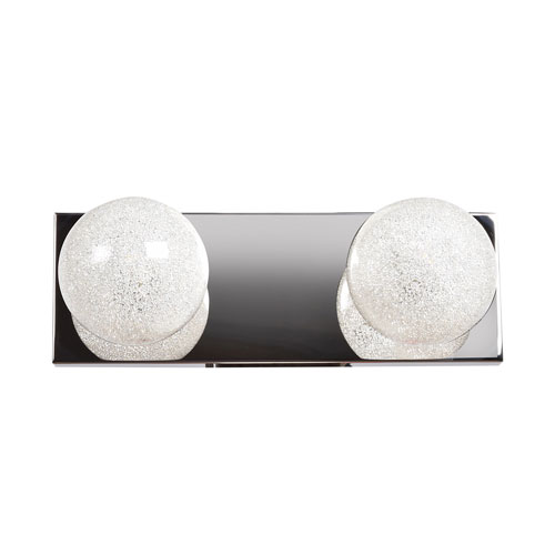 Opulence Mirrored Stainless Steel Two-Light LED Bath Vanity
