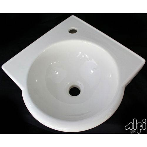 Alfi Brand 15 Inch Round Corner Wall Mounted Porcelain Bathroom Sink