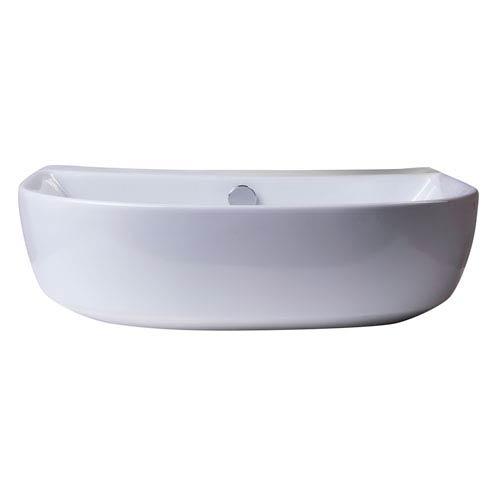 20-inch White D-Bowl Porcelain Wall Mounted Bath Sink
