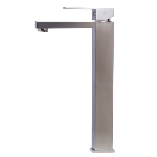 Brushed Nickel Tall Square Single Lever Bathroom Faucet