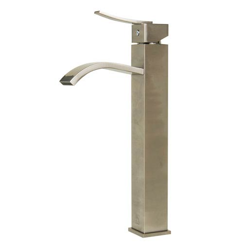 Tall Brushed Nickel Tall Square Body Curved Spout Single Lever Bathroom Faucet