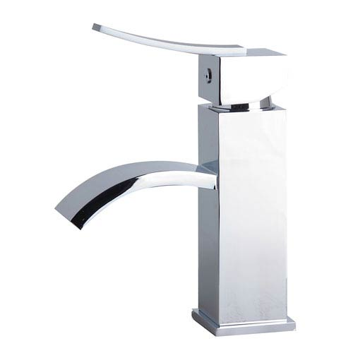 Polished Chrome Square Body Curved Spout Single Lever Bathroom Faucet