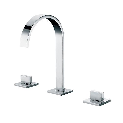 Polished Chrome Gooseneck Widespread Bathroom Faucet