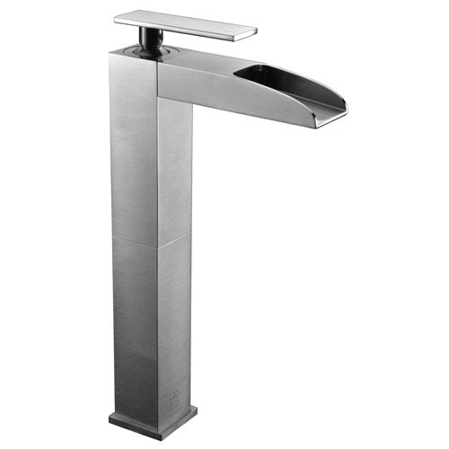 Brushed Nickel Single Hole Tall Waterfall Bathroom Faucet