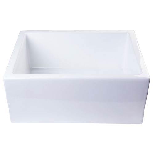 Alfi Brand 24 Inch White Smooth Thick Wall Fireclay Single Bowl Farm Sink