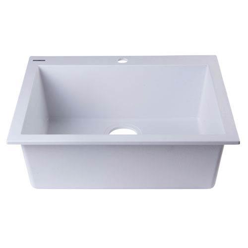 Alfi Brand White 24-inch Drop-In Single Bowl Granite Composite Kitchen Sink