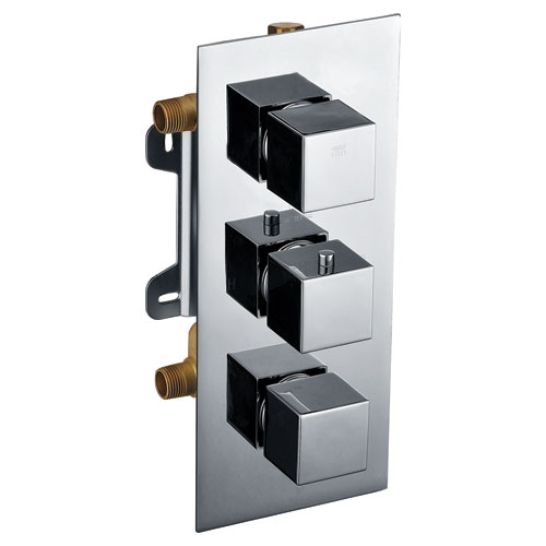 Polished Chrome Square 2 Way Thermostatic Shower Mixer