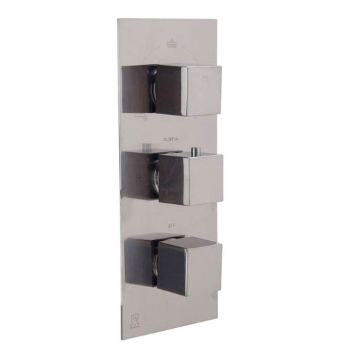 Brushed Nickel Concealed 3-Way Thermostatic Valve Shower Mixer Square Knobs