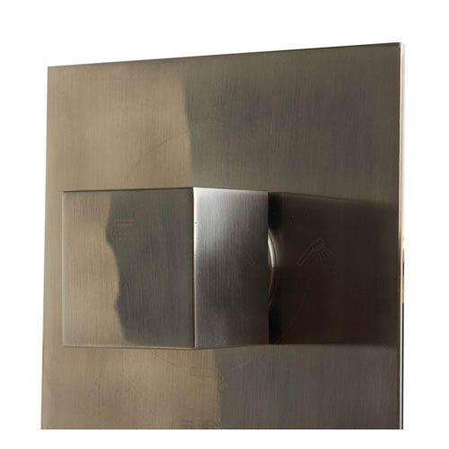 Brushed Nickel Concealed 4-Way Thermostatic Valve Shower Mixer with Square Knobs