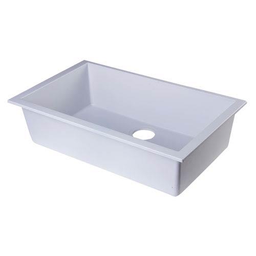 Alfi Brand White 30 Inch Undermount Single Bowl Granite Composite ...
