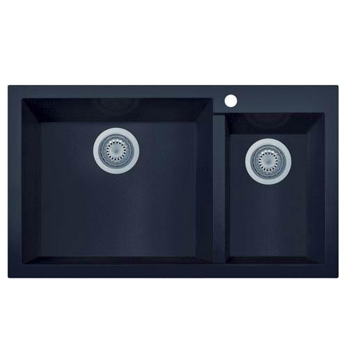 Alfi Brand Black 34 Inch Double Bowl Drop In Granite Composite Kitchen Sink