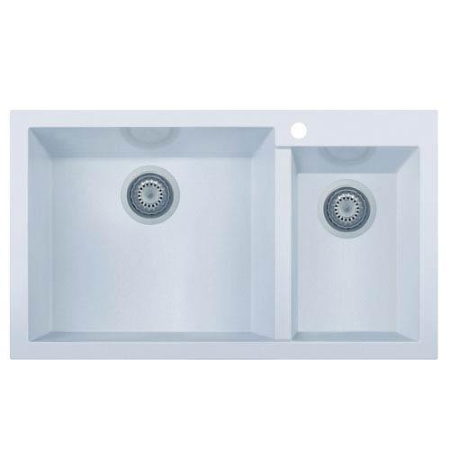 Alfi Brand White 34 Inch Double Bowl Drop In Granite Composite
