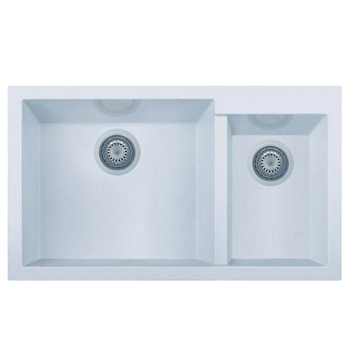 Alfi Brand White 34 Inch Double Bowl Undermount Granite Composite Kitchen Sink