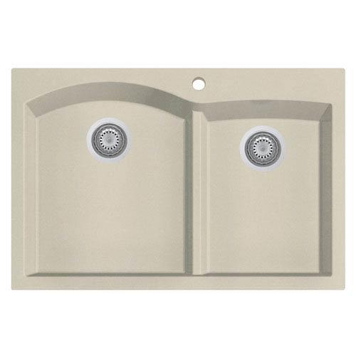 Alfi Brand Biscuit 33 Inch Double Bowl Drop In Granite Composite Kitchen Sink
