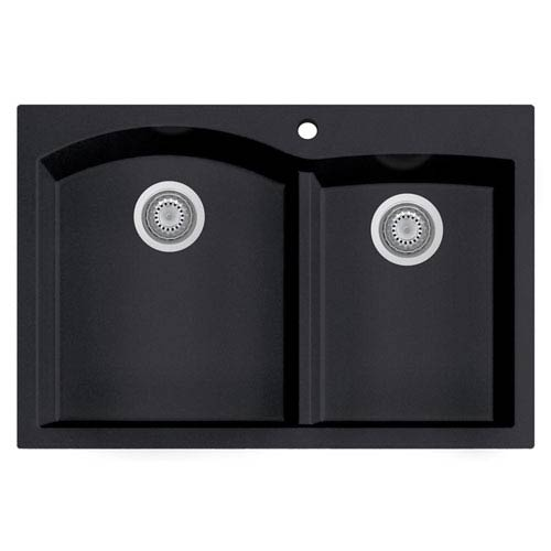 Black 33-inch Double Bowl Drop In Granite Composite Kitchen Sink
