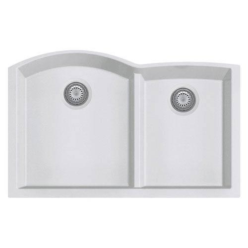White 33-inch Double Bowl Undermount Granite Composite Kitchen Sink