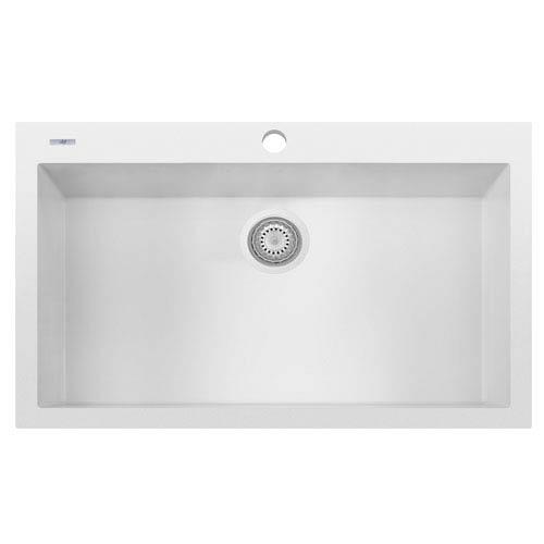 White 33 Inch Single Bowl Drop In Granite Composite Kitchen Sink