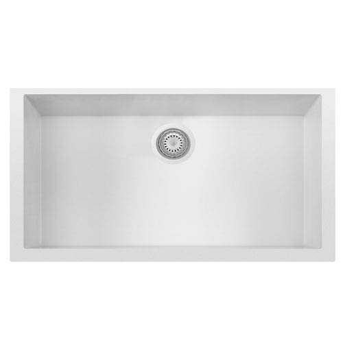 Alfi Brand White 33-inch Single Bowl Undermount Granite Composite Kitchen Sink