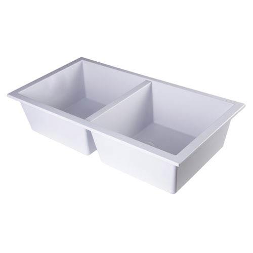 Alfi Brand White 34-inch Undermount Double Bowl Granite Composite Kitchen Sink
