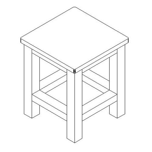 10-inchx10-inch Square Wooden Bench/Stool Multi-Purpose Accessory