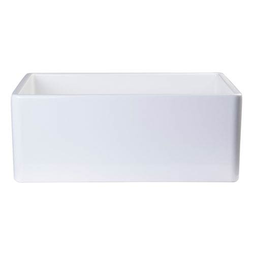 White 26-inch Contemporary Smooth Apron Fireclay Farmhouse Kitchen Sink