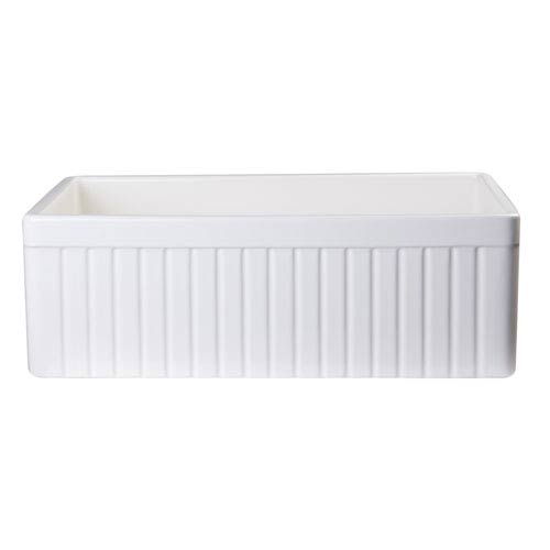 Alfi Brand Biscuit 30-inch Fluted Apron Single Bowl Fireclay Farmhouse Kitchen Sink