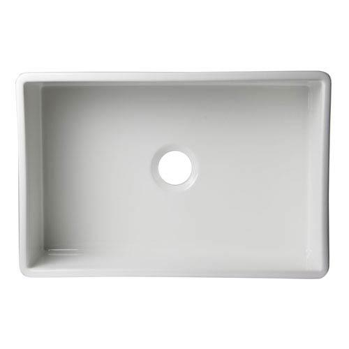 Alfi Brand White 30-inch Decorative Lip Apron Single Bowl Fireclay Farmhouse Kitchen Sink