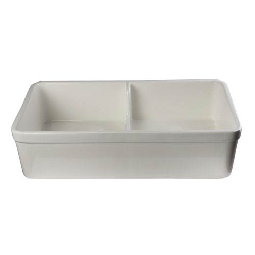 Biscuit 32-inch Short Wall Double Bowl Lip Apron Fireclay Farmhouse Kitchen Sink