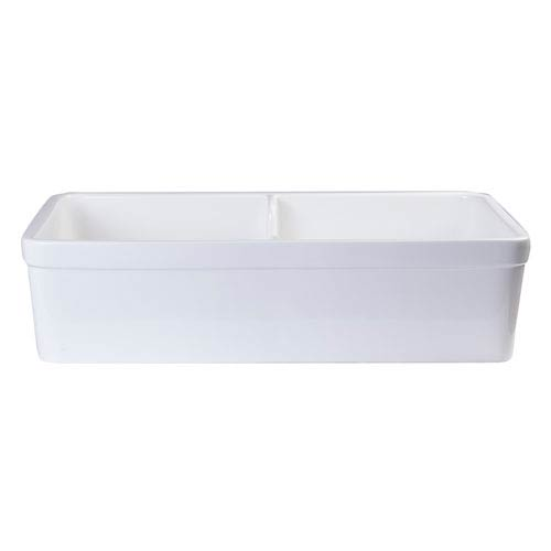 White 32-inch Short Wall Double Bowl  Lip Apron Fireclay Farmhouse Kitchen Sink