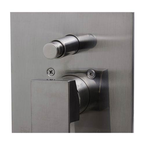 Brushed Nickel Shower Valve Mixer with Square Lever Handle and Diverter